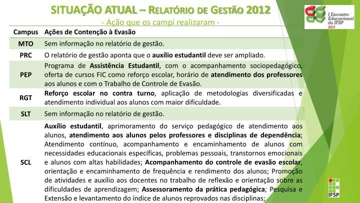 SITUAÇÃO ATUAL – Relatório de Gestão 2012