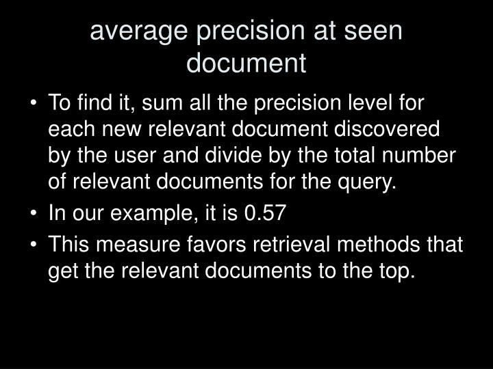 average precision at seen document