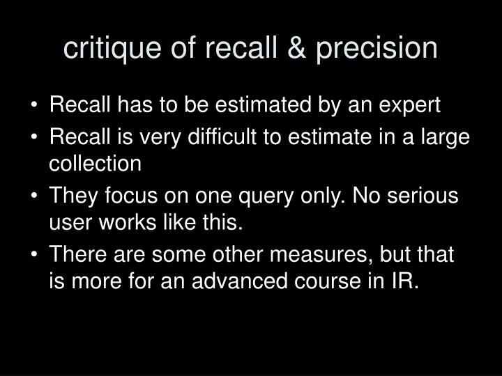 critique of recall & precision