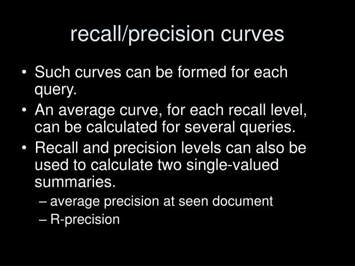 recall/precision curves