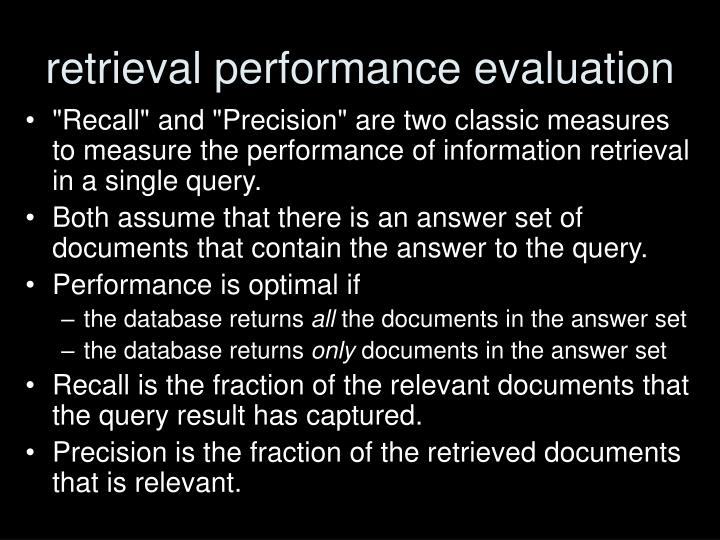retrieval performance evaluation