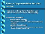 future opportunities for the sector