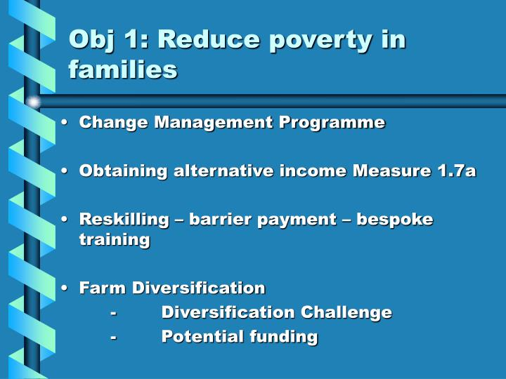Obj 1: Reduce poverty in families