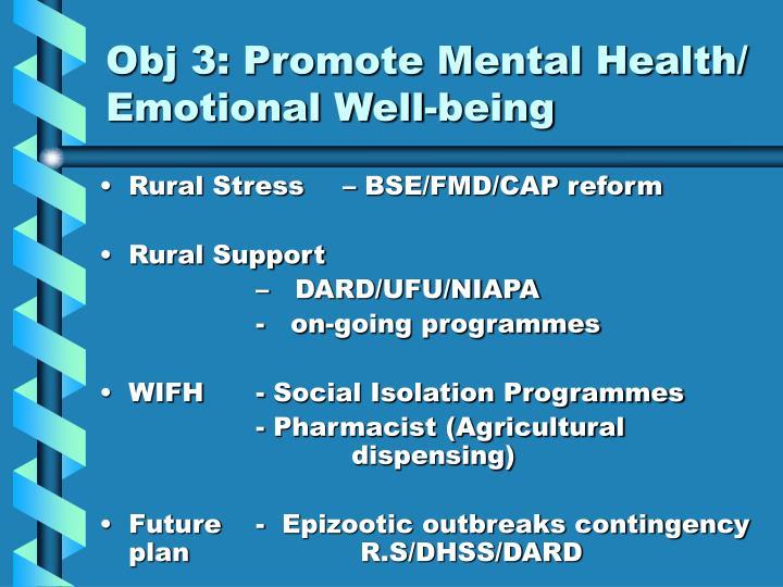 Obj 3: Promote Mental Health/