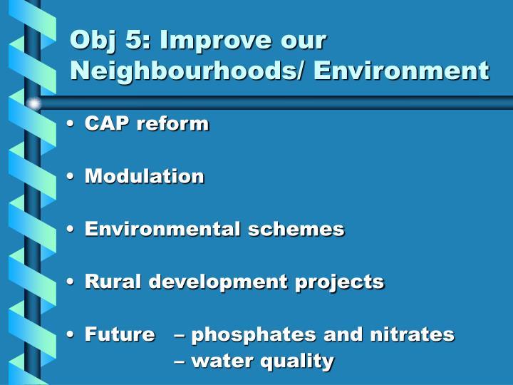 Obj 5: Improve our Neighbourhoods/ Environment