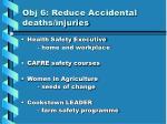 obj 6 reduce accidental deaths injuries