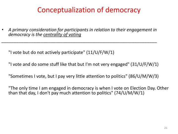 Conceptualization of democracy