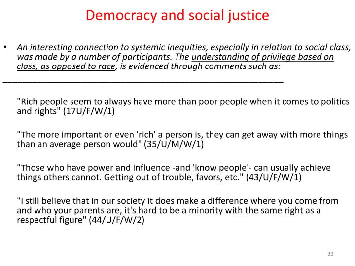 Democracy and social justice