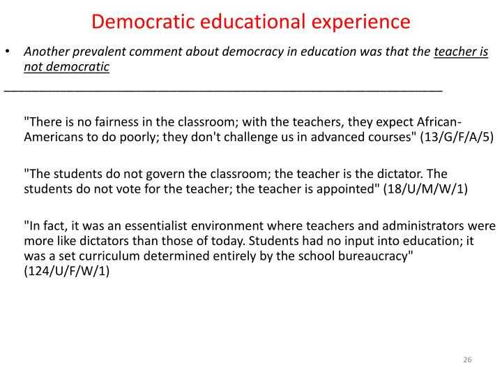 Democratic educational experience