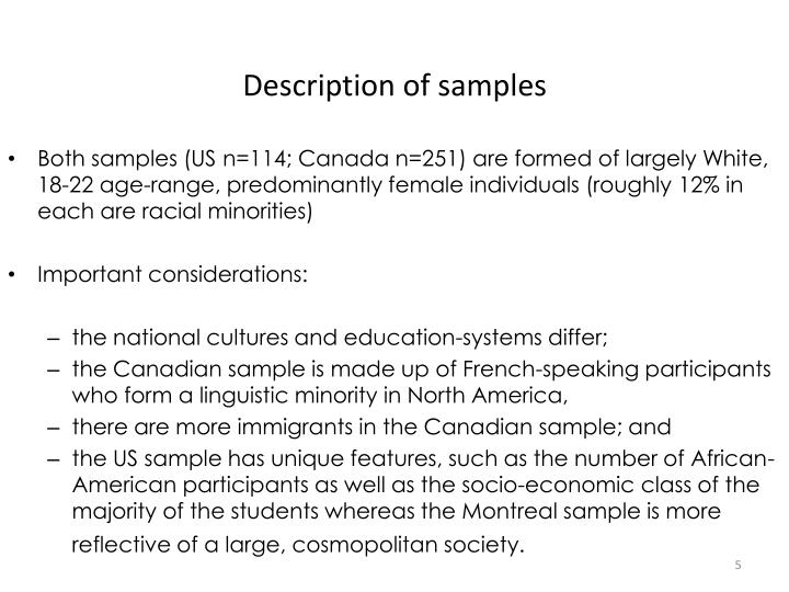 Description of samples