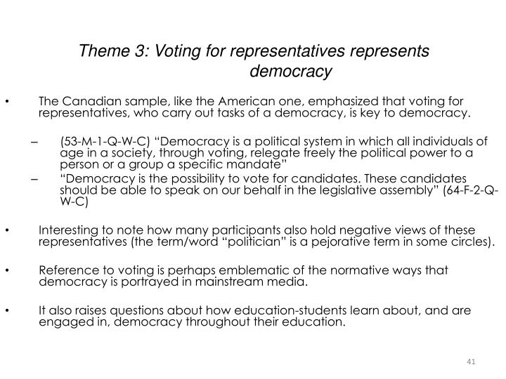 Theme 3: Voting for representatives represents