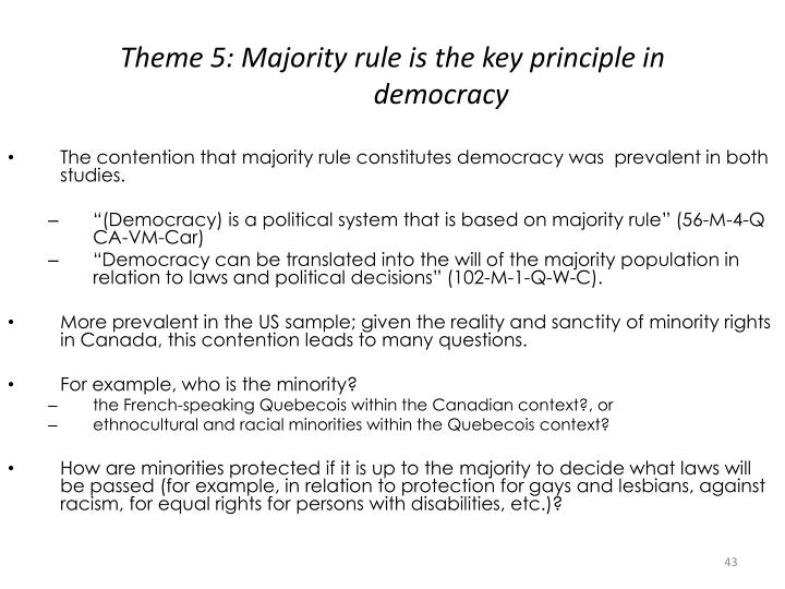 Theme 5: Majority rule is the key principle in
