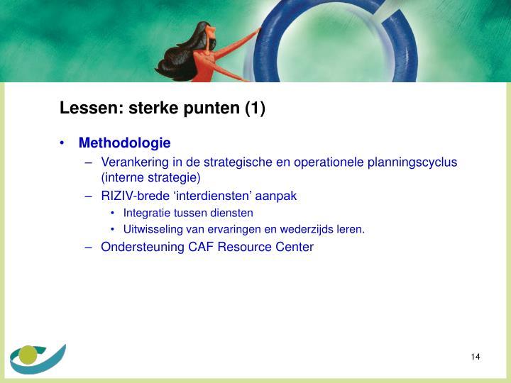 Lessen: sterke punten (1)