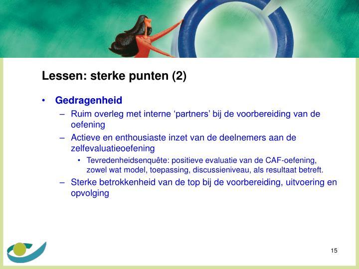 Lessen: sterke punten (2)