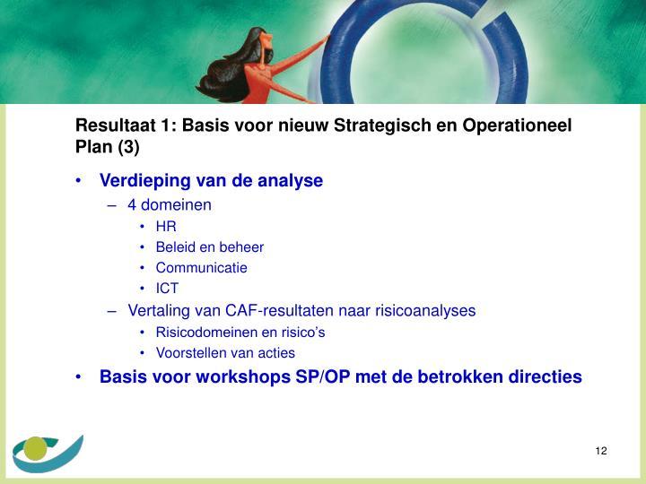 Resultaat 1: Basis voor nieuw Strategisch en Operationeel Plan (3)