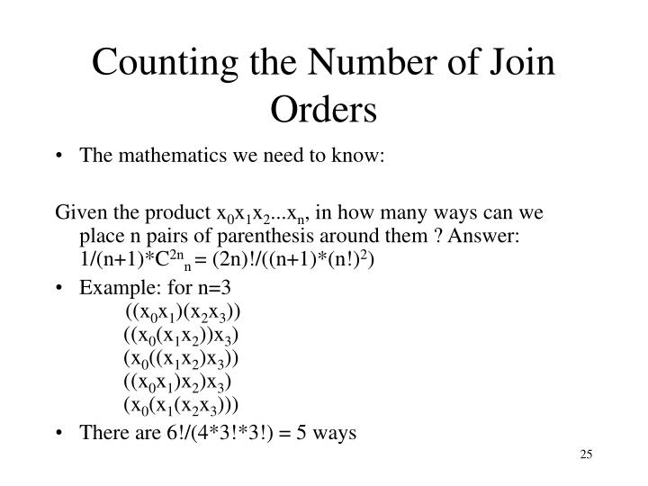 Counting the Number of Join Orders