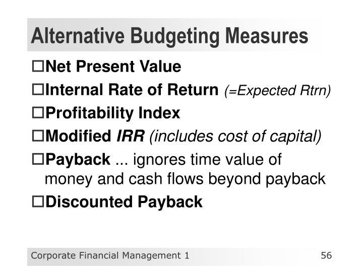 Alternative Budgeting Measures