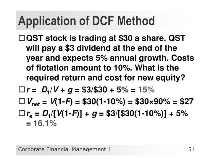 Application of DCF Method