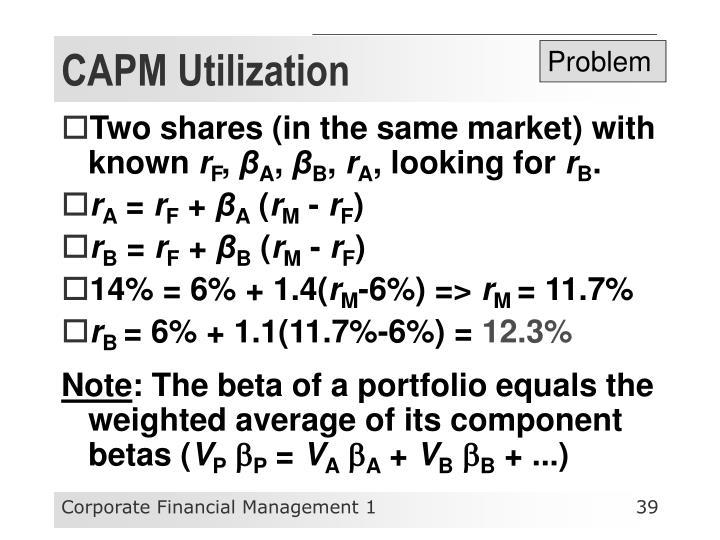CAPM Utilization