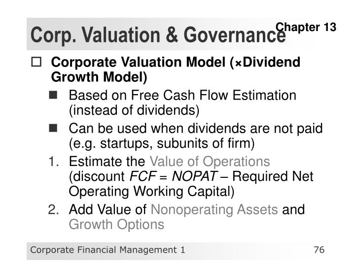 Corp. Valuation & Governance