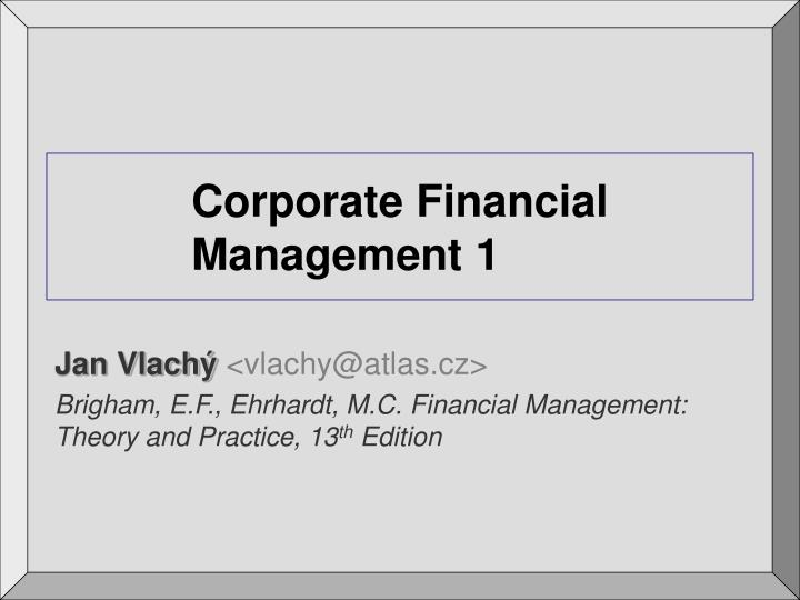 Corporate financial management 1