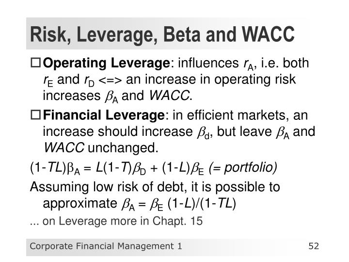 Risk, Leverage, Beta and WACC