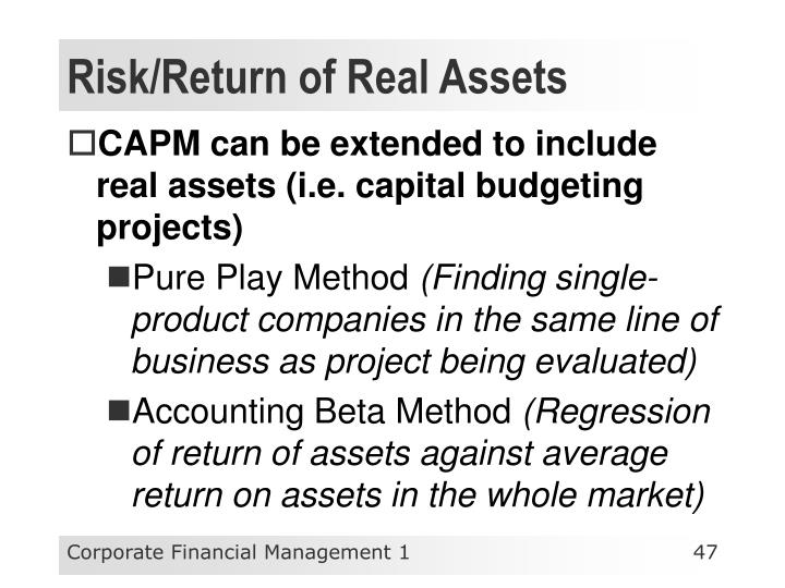 Risk/Return of Real Assets