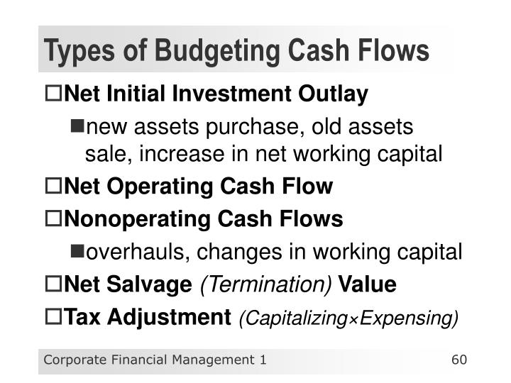Types of Budgeting Cash Flows