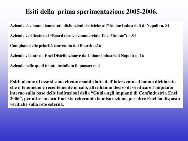 Esiti della  prima sperimentazione 2005-2006.