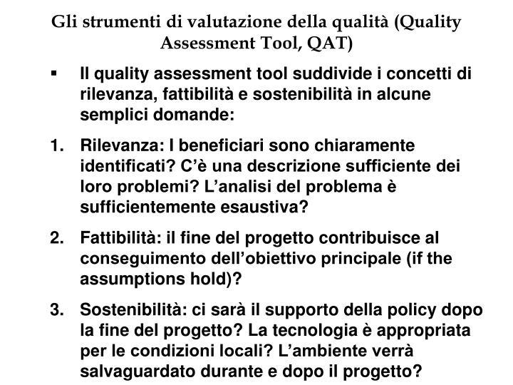 Gli strumenti di valutazione della qualità (Quality Assessment Tool, QAT)