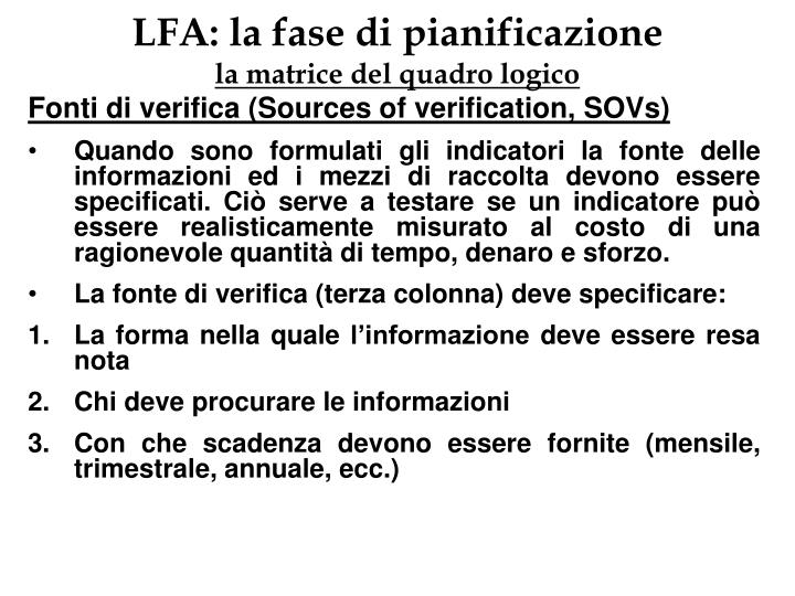 LFA: la fase di pianificazione