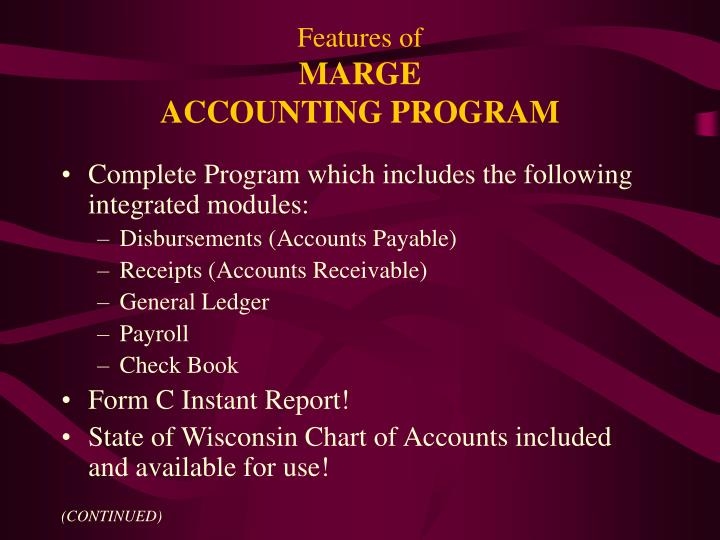 Features of marge accounting program