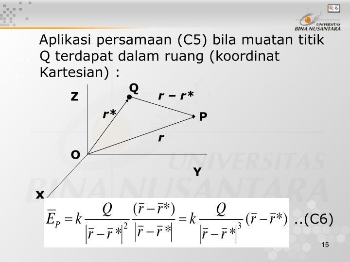 Aplikasi persamaan (C5) bila muatan titik