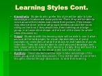 learning styles cont