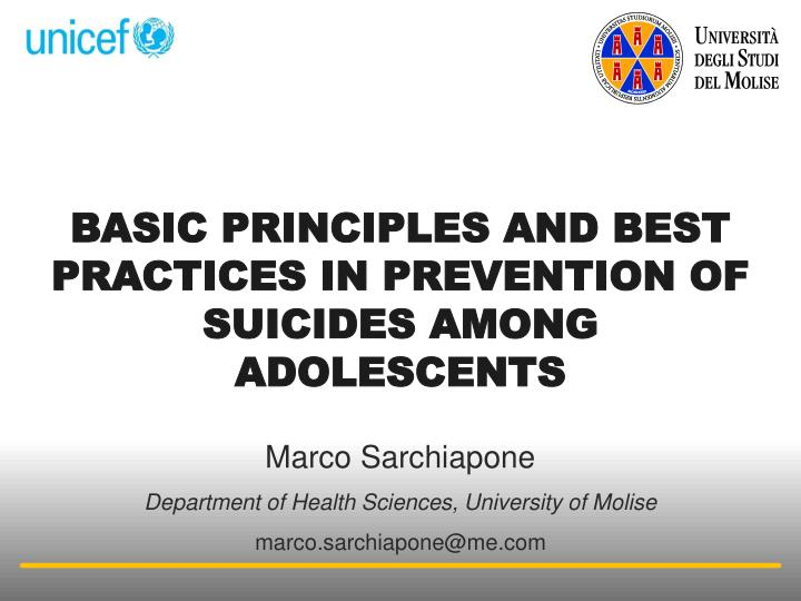 basic principles and best practices in prevention of suicides