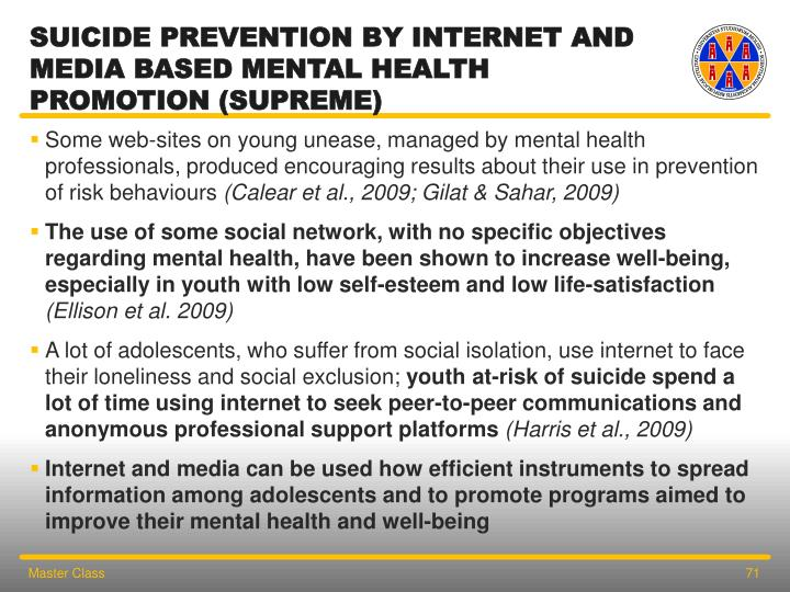Suicide Prevention by internet and Media based mental health promotion (SUPREME)