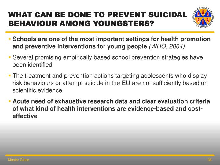 What can be done to prevent suicidal behaviour among youngsters?
