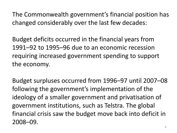 The Commonwealth government's financial position has