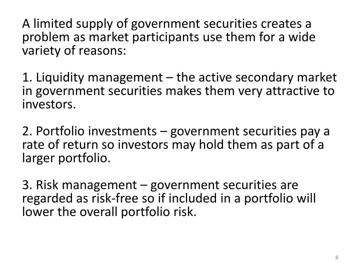 A limited supply of government securities creates a