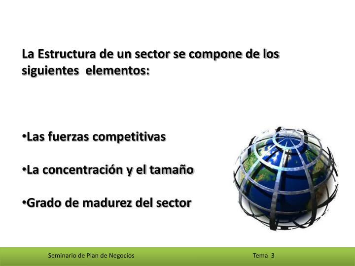 La Estructura de un sector se compone de los siguientes  elementos: