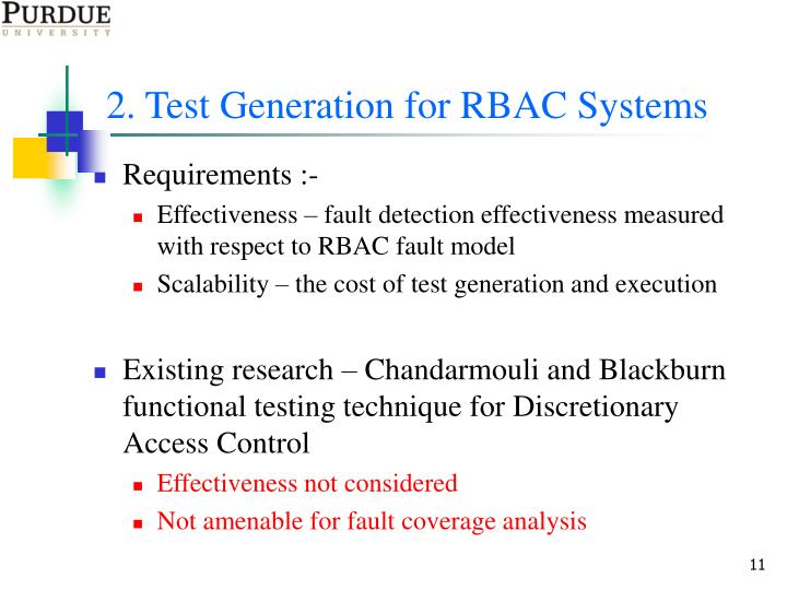 2. Test Generation for RBAC Systems