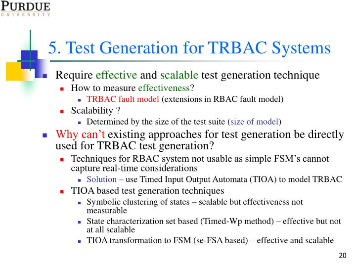5. Test Generation for TRBAC Systems