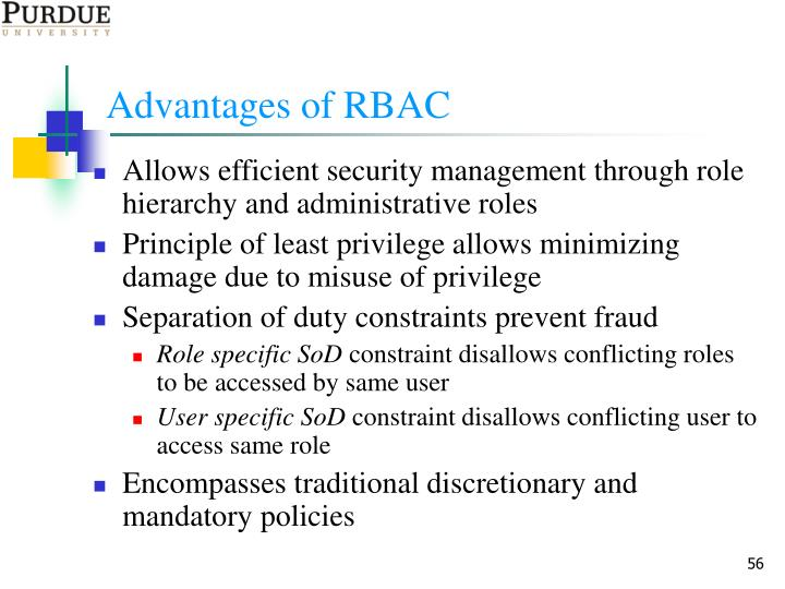 Advantages of RBAC