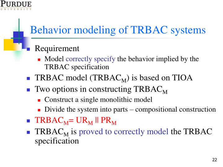 Behavior modeling of TRBAC systems