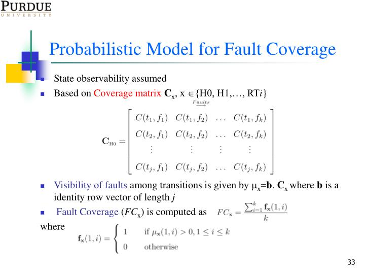 Probabilistic Model for Fault Coverage