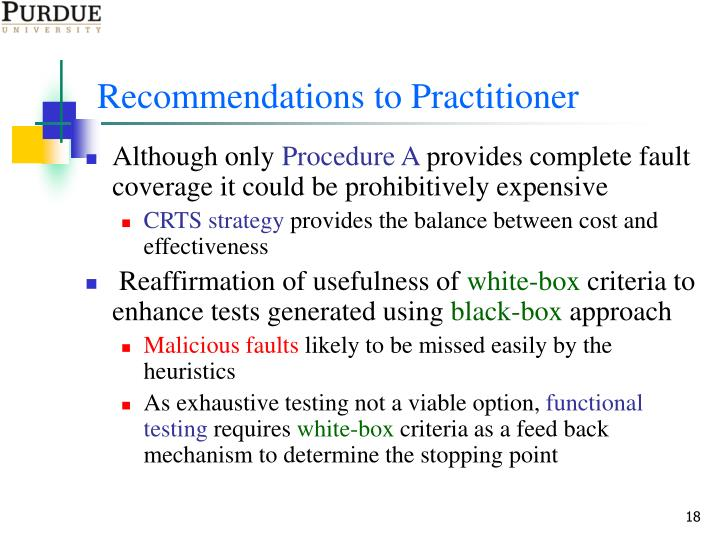 Recommendations to Practitioner