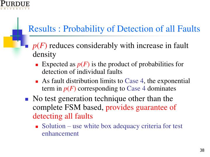 Results : Probability of Detection of all Faults