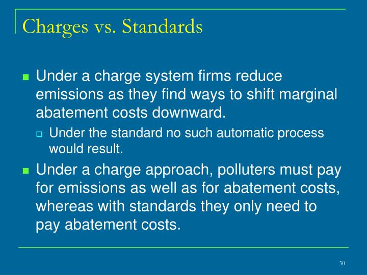 Charges vs. Standards