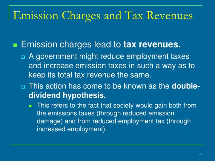 Emission Charges and Tax Revenues