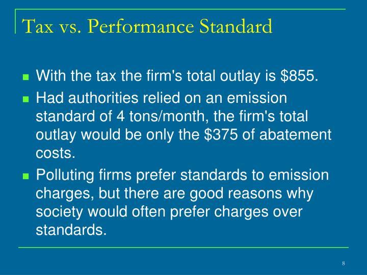 Tax vs. Performance Standard